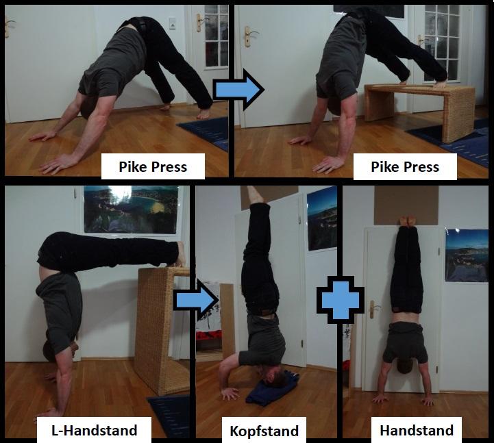 handstand liegestütze lernen tutorial einer komplexen schulterübung